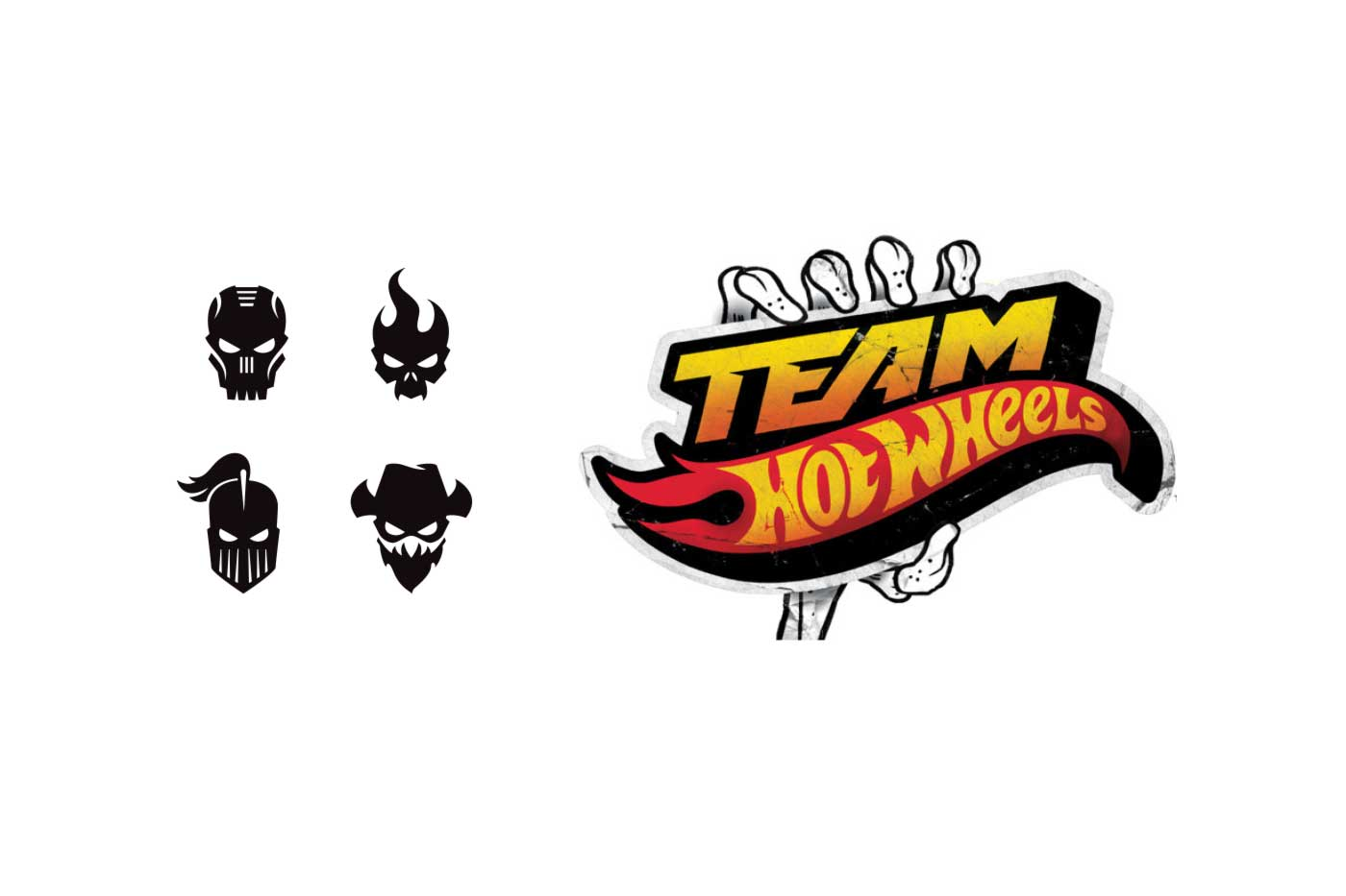 Mattels team hot wheels for real skull flames logos