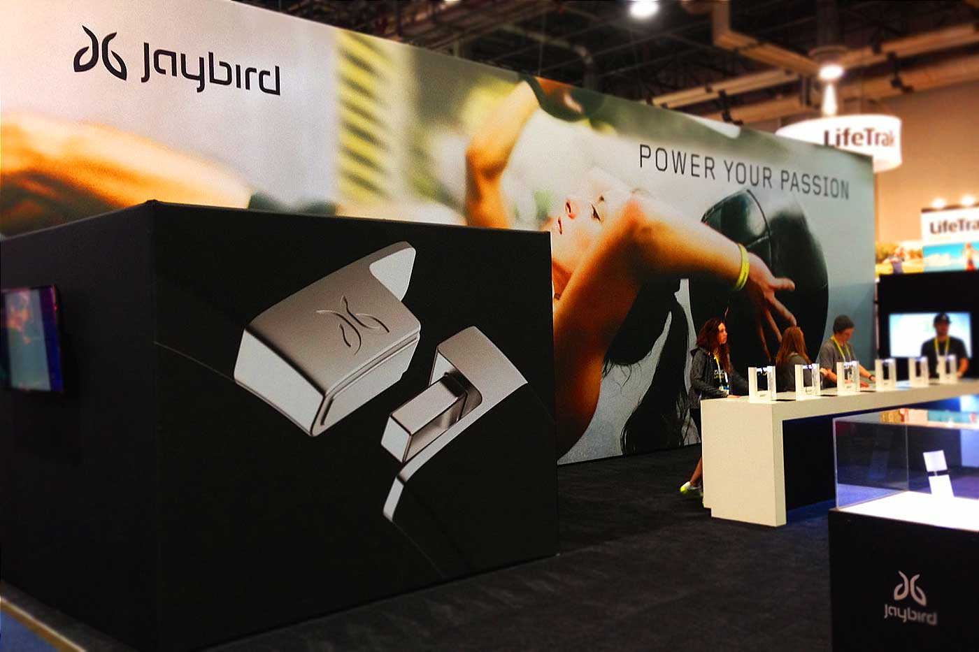 jaybird  nice trade show booth design - bxc designed the jaybird logo